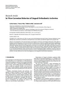 Research Article In Vitro Corrosion Behavior of Lingual Orthodontic Archwires