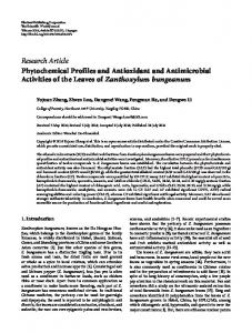Research Article Phytochemical Profiles and Antioxidant and Antimicrobial Activities of the Leaves of Zanthoxylum bungeanum