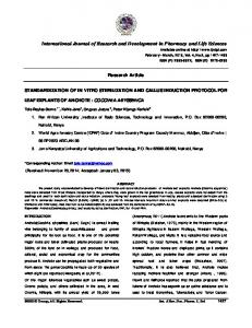 Research Article STANDARDIZATION OF IN VITRO STERILIZATION AND CALLUS INDUCTION PROTOCOL FOR LEAF EXPLANTS OF ANCHOTE : COCCINIA ABYSSINICA