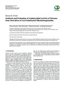 Research Article Synthesis and Evaluation of Antimicrobial Activity of Nitrones from Derivatives of Aryl-Substituted Dihydroisoquinoline