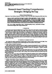 Research-based Teaching Comprehension Strategies: Bridging the Gap