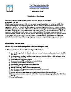 Research Brief. High School Advisory