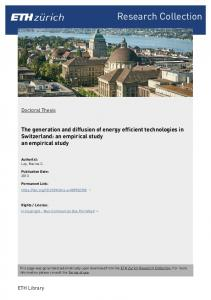 Research Collection. The generation and diffusion of energy efficient technologies in Switzerland: an empirical study an empirical study