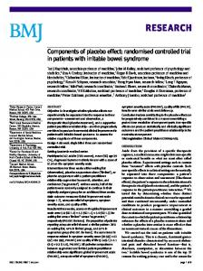 RESEARCH. Components of placebo effect: randomised controlled trial in patients with irritable bowel syndrome