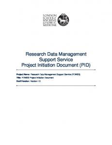 Research Data Management Support Service Project Initiation Document (PID)