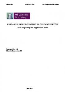 RESEARCH ETHICS COMMITTEE GUIDANCE NOTES On Completing the Application Form