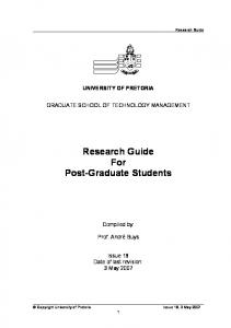 Research Guide For Post-Graduate Students