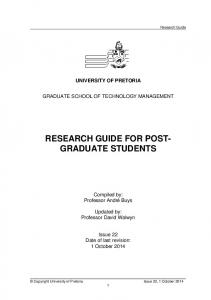 RESEARCH GUIDE FOR POST- GRADUATE STUDENTS