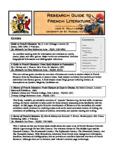 Research Guide to French Literature