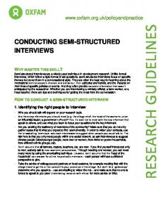 RESEARCH GUIDELINES CONDUCTING SEMI-STRUCTURED INTERVIEWS