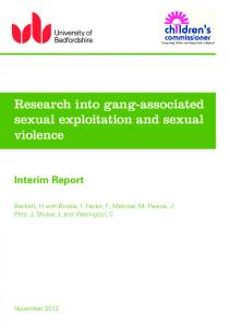Research into gang-associated sexual exploitation and sexual violence
