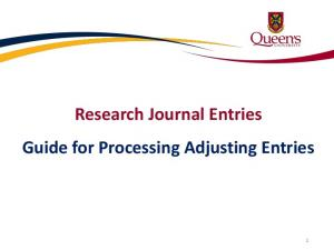 Research Journal Entries Guide for Processing Adjusting Entries