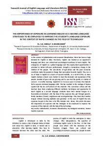 Research Journal of English Language and Literature (RJELAL) A Peer Reviewed (Refereed) International Journal