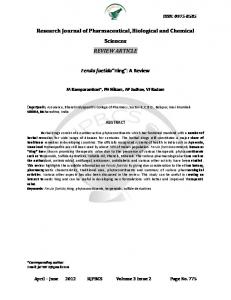 Research Journal of Pharmaceutical, Biological and Chemical Sciences REVIEW ARTICLE