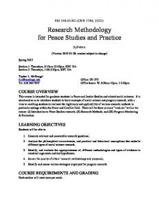 Research Methodology for Peace Studies and Practice