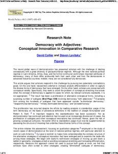 Research Note. Democracy with Adjectives: Conceptual Innovation in Comparative Research