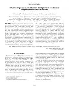 Research Notes. Influence of graded levels of brewers dried grains on pellet quality and performance in broiler chickens