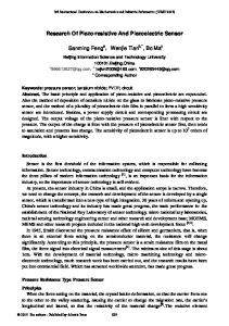 Research Of Piezo-resistive And Piezoelectric Sensor