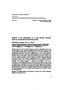 Research of the Optimization of a Data Mining Algorithm Based on an Embedded Data Mining System
