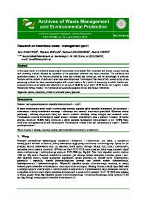 Research on hazardous waste - management part I