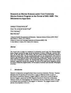 Research on Marine Sciences under Core University Marine Science Program in the Period of : The Bibliometrics Approach