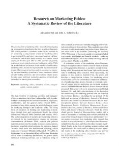 Research on Marketing Ethics: A Systematic Review of the Literature