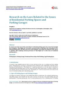 Research on the Laws Related to the Issues of Residential Parking Spaces and Parking Garages