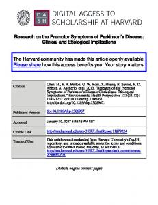 Research on the Premotor Symptoms of Parkinson s Disease: Clinical and Etiological Implications