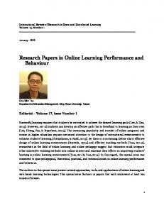 Research Papers in Online Learning Performance and Behaviour
