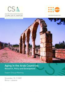Research, Policy and Development. Expert Group Meeting. November Beirut- Lebanon CENTER FOR STUDIES ON AGING CENTER FOR STUDIES ON AGING