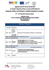 Research, Policy, and Practice in Teacher Education in Europe