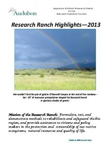 Research Ranch Highlights 2013