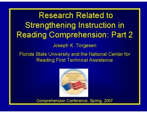 Research Related to Strengthening Instruction in Reading Comprehension: Part 2