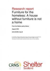 Research report Furniture for the homeless: A house without furniture is not a home