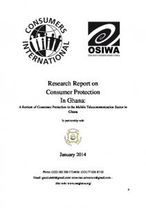 Research Report on Consumer Protection In Ghana: