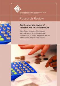 Research Review. Adult numeracy: review of research and related literature