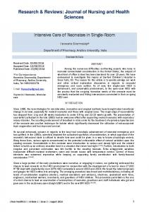 Research & Reviews: Journal of Nursing and Health Sciences. Intensive Care of Neonates in Single-Room