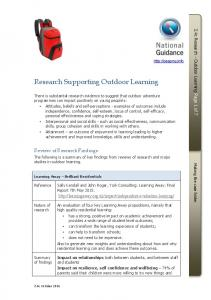 Research Supporting Outdoor Learning