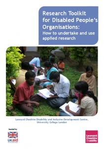 Research Toolkit for Disabled People s Organisations: