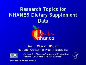 Research Topics for NHANES Dietary Supplement Data