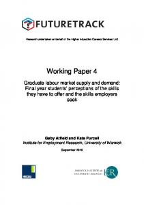 Research undertaken on behalf of the Higher Education Careers Services Unit. Working Paper 4
