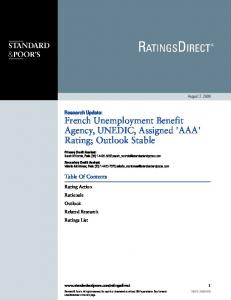 Research Update: French Unemployment Benefit Agency, UNEDIC, Assigned 'AAA' Rating; Outlook Stable