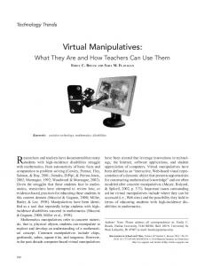 Researchers and teachers have documented that many. Virtual Manipulatives: What They Are and How Teachers Can Use Them