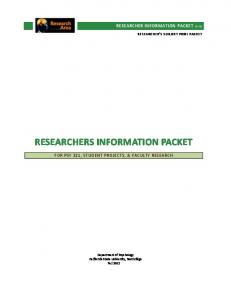 RESEARCHERS INFORMATION PACKET