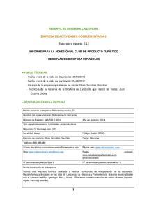 RESERVA DE BIOSFERA LANZAROTE EMPRESA DE ACTIVIDADES COMPLEMENTARIAS: [Naturaleza canaria, S.L.]