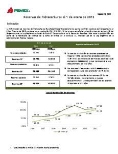 Reservas de hidrocarburos al 1 de enero de 2012