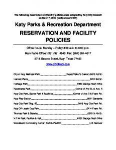 RESERVATION AND FACILITY POLICIES