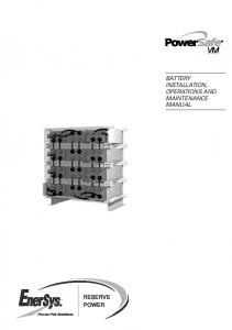 RESERVE POWER BATTERY INSTALLATION, OPERATIONS AND MAINTENANCE MANUAL