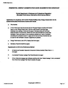RESIDENTIAL ENERGY CONSERVATION CODE DOCUMENTATION CHECKLIST