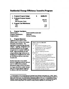 Residential Energy Efficiency Incentive Program